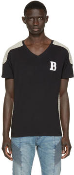 Pierre Balmain Black and Beige Topstitched T-Shirt