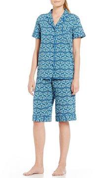 Cabernet Tile-Print Bermuda Pajamas