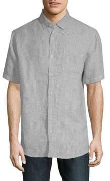 Saks Fifth Avenue BLACK Point Collar Short Sleeve Shirt