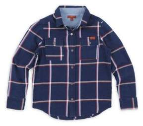 7 For All Mankind Little Boy's Plaid Denim Collared Shirt