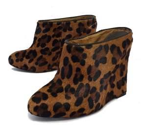 Joie Leopard Fur Wedge Booties