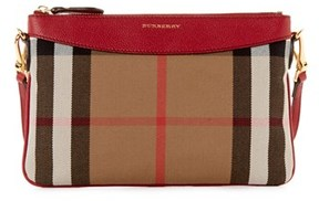 Burberry Peyton House Check & Leather Clutch Bag. - RED - STYLE