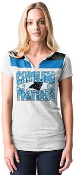 5th & Ocean By New Era Women's by New Era Carolina Panthers Burnout Henley Tee