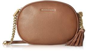 Michael Kors Ginny Luggage Pebble Leather Medium Messenger - BROWN - STYLE