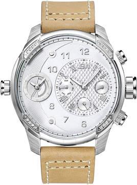 JBW G3 Stainless Steel Diamond Case Beige Leather Strap Men's Watch