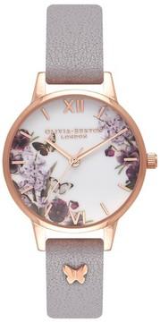 Olivia Burton Women's Enchanted Garden Embellished Leather Strap Watch, 30Mm