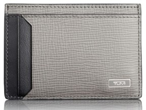 Tumi Men's Monaco Leather Rfid Money Clip Card Case - Grey