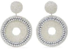 Kenneth Jay Lane Beaded Silver-Tone Clip Earrings