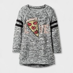 Miss Chievous Girls' 3/4 Sleeve Pizza Love Tunic - Black