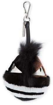 Fendi Striped Fur Monster Charm for Men's Bag, Black