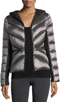 Blanc Noir Zip-Front Mesh Inset Hooded Jacket