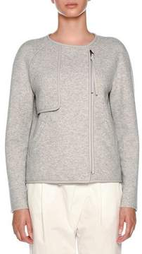 Agnona Crewneck Sip-Front Cashmere Jacket with Leather Piping