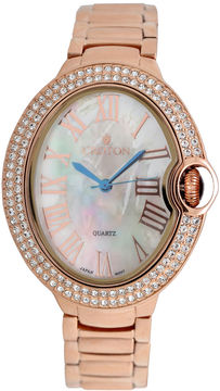 Croton Womens Rose Goldtone Bracelet Watch-Cn207566rgmp