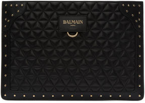 Balmain Black Quilted Mini Domaine Glove Pouch
