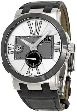 Ulysse Nardin Executive Dual Time Silver Dial Black Leather Automatic Men's Watch