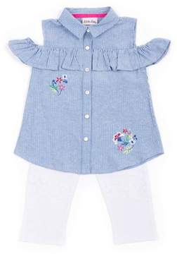 Little Lass Little Girls' 4-6X Chambray Stripe Cold Shoulder Top and Lace Capri Legging 2-Piece Set