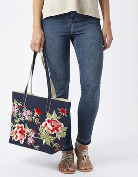 Ester Embroidered Floral Shopper Bag