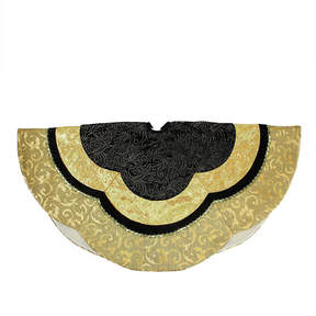 Asstd National Brand 48 Black and Gold Embossed Velvet Silk Brocade and Metallic Trim Scallop Christmas Tree Skirt