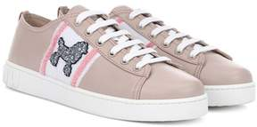 Miu Miu Exclusive to mytheresa.com – Embellished leather sneakers