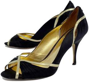 Nicole Miller Black & Gold Peep Toe Heels
