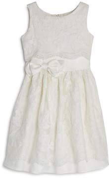 Us Angels Girls' Satin Lace-Overlay Dress - Little Kid