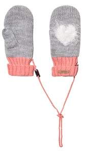 Barts Grey and Pink Heart Milkyway Mittens