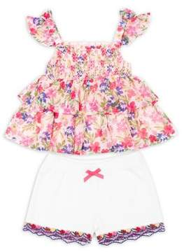 Little Lass Little Girl's Two-Piece Floral Top and Embroidered Shorts Set