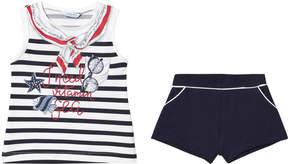 Mayoral Navy Sailor Print Tee and Shorts Set