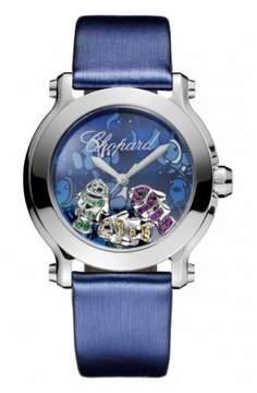 Chopard Happy Sport II Floating Fish Blue Dial Blue Satin Ladies Watch