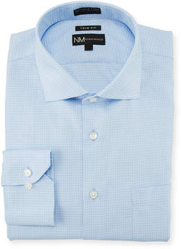 Neiman Marcus Trim-Fit Non-Iron Mini Check Dress Shirt