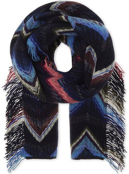 Missoni Zigzag patterned wool scarf