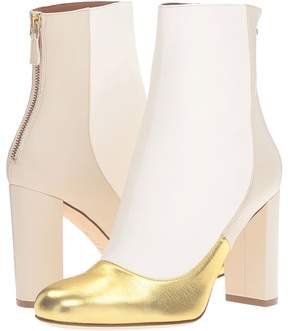 M Missoni Leather Ankle Boots with Back Zipper with Gold Toe Detail