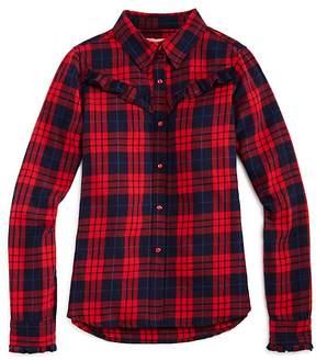 Blank NYC BLANKNYC Girls' Ruffled Plaid Shirt - Big Kid
