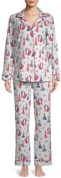 BedHead Women's Two-Piece Printed Cotton Pajama Set