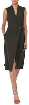 Akris V-Neck Sleeveless Wrap-Style Cotton-Silk Coat Dress
