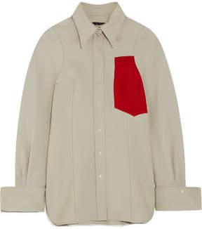 Joseph Moss Appliquéd Wool Shirt - Mushroom