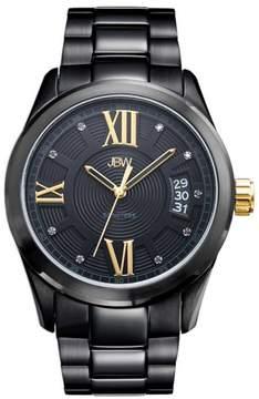 JBW Men's Bond 9-Diamond Black Stainless Steel Bracelet Watch