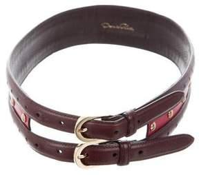 Oscar de la Renta Embellished Leather Belt