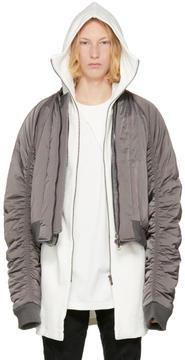 D.gnak By Kang.d Reversible Grey Satin Bomber Jacket