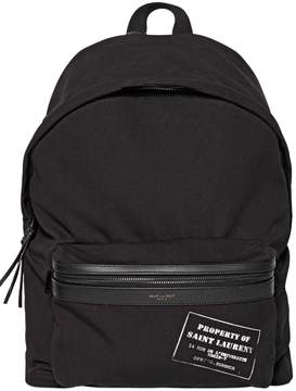 Saint Laurent City Property Of Printed Cotton Backpack