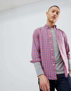 Abercrombie & Fitch Poplin Gingham Check Button Down Collar Shirt in Red