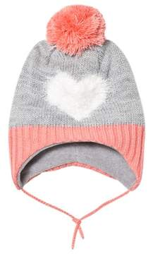 Barts Grey and Pink Heart Milkyway Inka Beanie