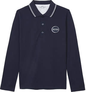BOSS Logo cotton long-sleeved polo shirt 4-16 years