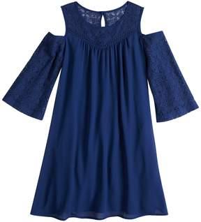 My Michelle Girls 7-16 Crochet Cold Shoulder Shift Dress