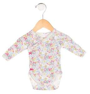 Petit Bateau Girls' Floral Print Long Sleeve All-In-One