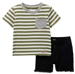 Hudson Cotton Striped Jersey Tee & Shorts (Baby Boys)