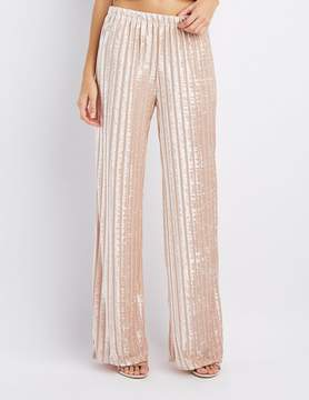 Charlotte Russe Shadow Stripe Velvet Palazzo Pants