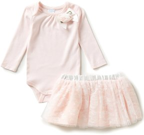 Edgehill Collection Baby Girls Newborn-6 Months Bodysuit & Lace Skirt Set