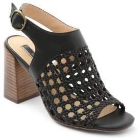 Kensie Sandria Stacked Heel Woven Sandals