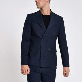 River Island Mens Blue check double breasted skinny suit jacket